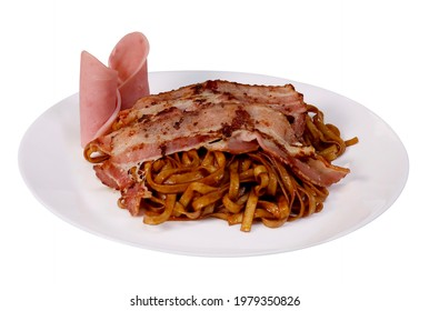 Kolo mee with bacon and ham brown noodles on white plate white background traditional food cuisine cooked food - Shutterstock ID 1979350826