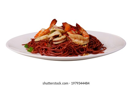 Kolo Mee front view on white plate with white background asian sarawak noodle dish with prawns - Shutterstock ID 1979344484