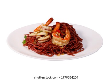 Kolo mee prawn noodles cooked food local delight asian food sarawak traditional cuisine white plate white background - Shutterstock ID 1979354204