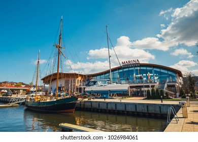 Kolobrzeg, Poland - April 08, 2016: View on harbor in Kolobrzeg with many moored boats and ships. Kolobrzeg is a popular tourist destination