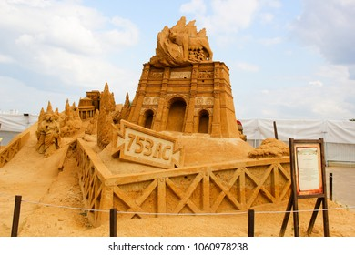 "KOLOMENSKOYE, MOSCOW, RUSSIA-JULY 10, 2011: ""Masterpieces of Italian culture"" Exhibition of sand sculptures. ""Lupa Capitolina"" who brought the legend of Romulus and Remus. By Leonardo Ugolini, Italy"