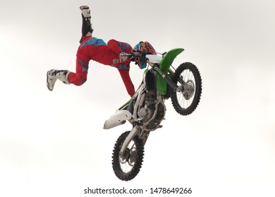 Kolomna, Moscow region. 23 February 2016. Demonstration performance of commands freestyle motocross FMX-13 and Mad Men