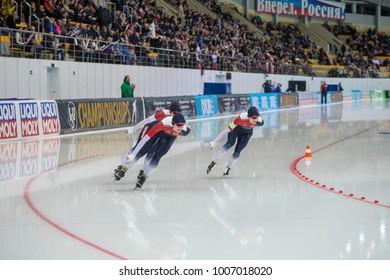 KOLOMNA, MOSCOW REGION, RUSSIA - JANUARY 07, 2018: ISU European Speed Skating Championships. Team Sprint.