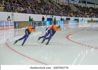 KOLOMNA, MOSCOW REGION, RUSSIA - JANUARY 07, 2018: ISU European Speed Skating Championships. Team Sprint. Dutch team.