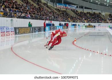KOLOMNA, MOSCOW REGION, RUSSIA - JANUARY 07, 2018: ISU European Speed Skating Championships. Team Sprint. Polish team.