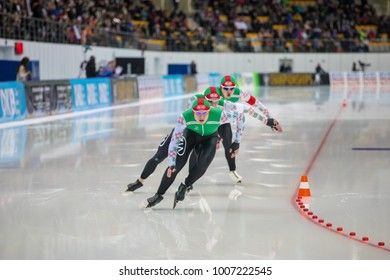 KOLOMNA, MOSCOW REGION, RUSSIA - JANUARY 07, 2018: ISU European Speed Skating Championships. Team Sprint. Belarusian team.