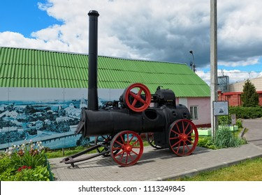 Kolomna, Russia - 09 June, 2018: Locomobile - steam engine, used in the production of boots and sawing stone, landmark (19th)