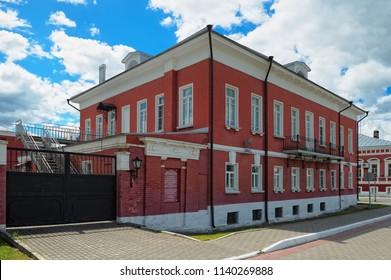 Kolomna, Russia - 09 June, 2018: View of the Kolomna Museum of Local Lore, the former Manor of Lazhechnikov merchants, 19th century, landmark