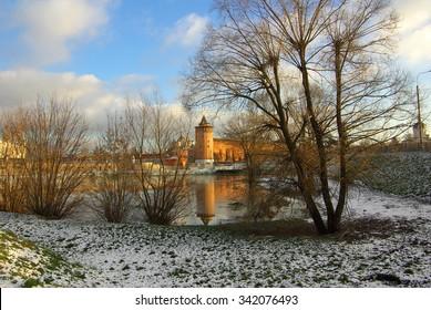KOLOMNA, RUSSIA - Circa November 2013: Kolomna Kremlin and its reflection in the river