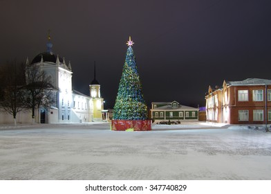 KOLOMNA, RUSSIA - January, 2015: View of historical center with New Year tree