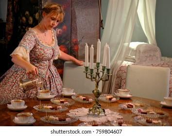 Kolomna, Russia - July, 2015. Museum Kolomna marshmallow. Tea Party time.