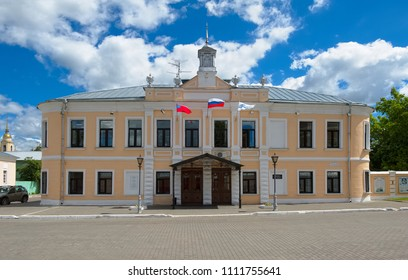 Kolomna, Russia - June 09, 2018: View of the former city government or Kolomna Duma, built in the early 19th century, Lazhechnikova Street