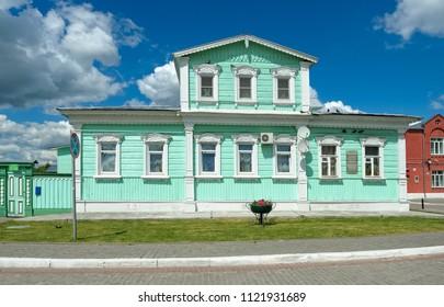 Kolomna, Russia - June 09, 2018: Kolomna Kremlin, view of the House of the Russian writer Kuprin, 19th century, landmark