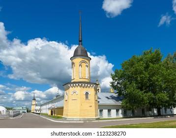 Kolomna, Russia - June 9, 2018: Kolomna Kremlin, view of the wall of the Holy Trinity Novo-Golutvin monastery from Kazakova Street