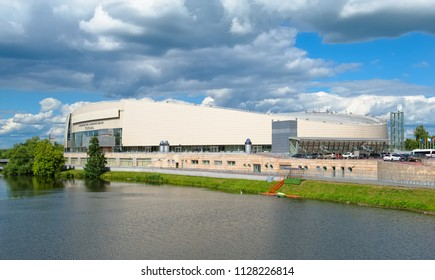 Kolomna, Russia - June 9, 2018: Skating complex of the Moscow region Kolomna on the bank of the river Kolomenki