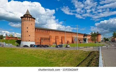 Kolomna, Russia - June 9, 2018: View of the ancient walls of the Kolomna Kremlin (1525-1531), tourist center, landmark