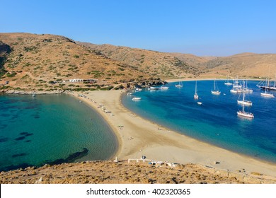 The Kolona double sided beach at Kythnos, Greece as viewed from Aghios Loukas islet