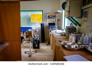 KOLONYI, UGANDA – NOVEMBER 08, operation theater in a remote hospital nearby Mbale in Uganda. The quality of the equipment is in a very bad shape which makes operating patients a job with high risk.