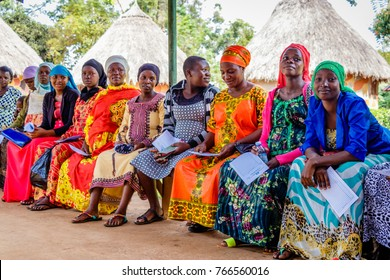KOLONYI, UGANDA – OCTOBER 02, 2016: Many pregnant woman waiting for an ultrasound scan at the Kolonyi hospital in Uganda. A German doctor is there to educate the local doctors.