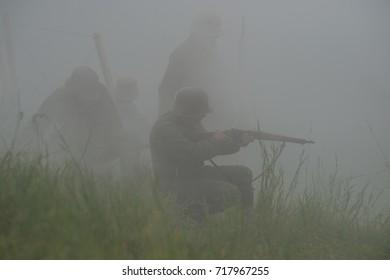 KOLOVRAT, SLOVENIA, 09.17.2017: The staging of the Battle of Kolovrat from the First World War. Kolovrat, Slovenia on 09.17.2017