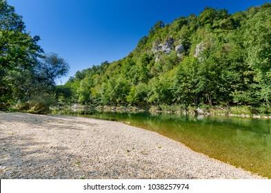 Kolpa river in Pobrezje (Adlesici), Bela Krajina (White Carniola) region in Slovenia, Europe.