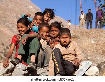 KOLTI VILLAGE, WESTERN NEPAL, 3rd DECEMBER 2013 - group of nepalese children near Kolti village in western Nepal