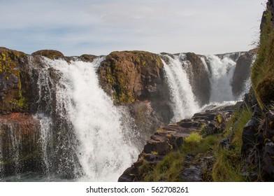 Kolufossar waterfall in Kolugljufur in North Iceland