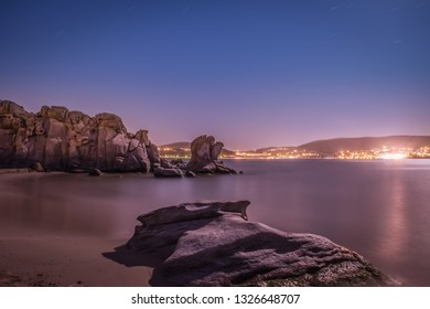 Kolymbithres beach at Paros island in Greece by night.
