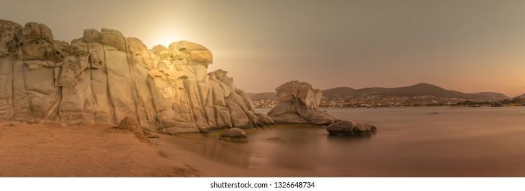 Kolymbithres beach at Paros island in Greece panorama. A beautiful touristic destination.