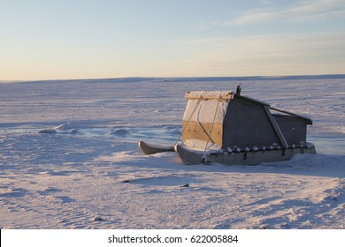 Komatiq or Inuit sled in the community of Cambridge Bay in the Canadian high arctic