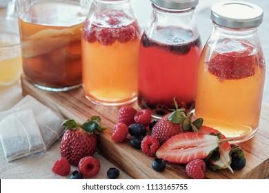 Kombucha second Fermented fruit tea, Probiotic food, gut health