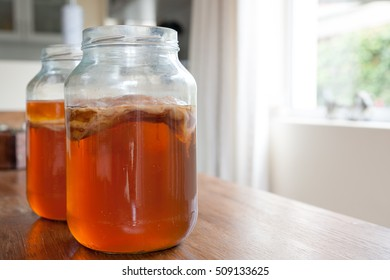 Kombucha tea, the brew is ready to be placed in storage with the bacteria culture in place to ferment the brew.