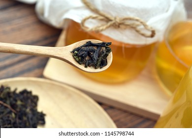 Kombucha tea, Healthy fermented food, Probiotic nutrition drink for good balance digestive system.