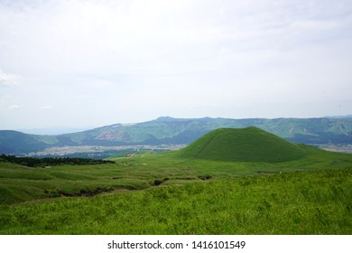 Komezuka of Aso mountain,Landscape of the Aso plateau in Japan,Landscape of Mt. Aso in spring年賀状