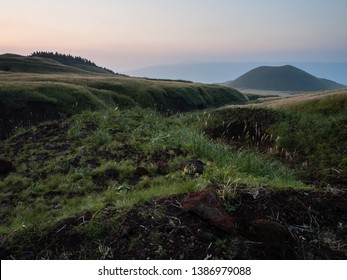 Komezuka volcanic cone after sunset - in Aso caldera, part of Aso-Kuju National Park, Kumamoto prefecture, Japan
