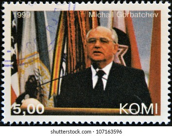 KOMI - CIRCA 1999: A stamp printed in  Komi shows Mikhail Gorbachev, circa 1999