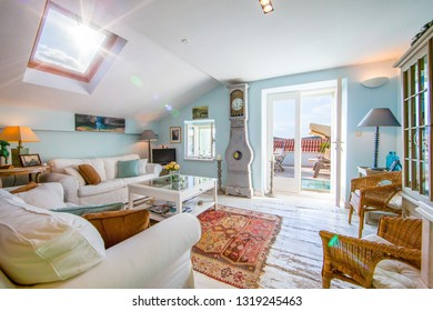 KOMIZA (VIS), CROATIA - AUG 15, 2018: - Traditional old Dalmatian house will charm you with its modern interior design made of stone and wood.