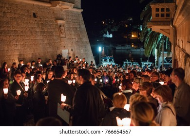 KOMIZA (VIS), CROATIA - AUG 5, 2017: The well preserved Krizni Put (Stations of the Cross)  procession is historically interesting religious event and very well documented on the island of Vis.