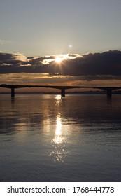the Kommunal'nyi bridge of Perm at sunset