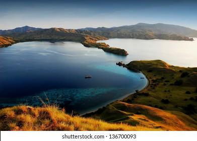 Komodo island in indonesia sunset