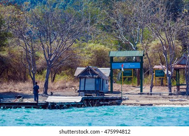 KOMODO NATIONAL PARK, INDONESIA - AUGUST 18, 2008: Entrance to Satonda island with Komodo dragons