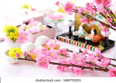 """""""Kompeito""""Japanese traditional sugar candy for doll's festival with beautiful peach blossoms"""