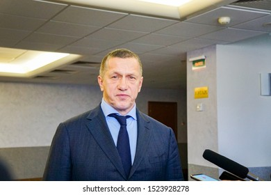 KOMSOMOLSK, RUSSIA - October 2, 2019: Yuri Trutnev, Deputy Prime Minister of the Russian Federation - Plenipotentiary Representative of the President in the Far East gives an interview