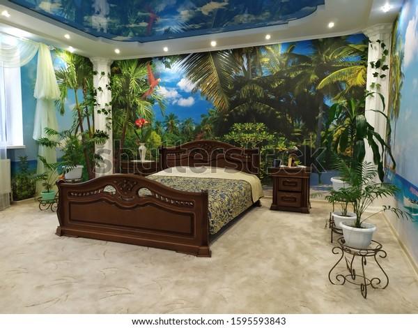 Design of bedroom mural, panorama of the island.