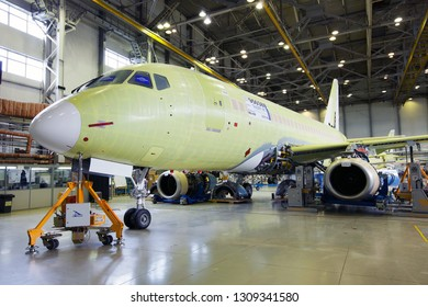 Komsomolsk-On-Amur / Russia - 08.16.2013. Assembly production of the Sukhoi Civil Aircraft. Final assembly line of aircraft Sukhoi Superjet 100. Front view of SSJ100.