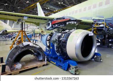 Komsomolsk-On-Amur / Russia - 08.16.2013. Assembly production of the Sukhoi Civil Aircraft. Final Assembly Shop. Engine SaM146 of aircraft Sukhoi Superjet 100.