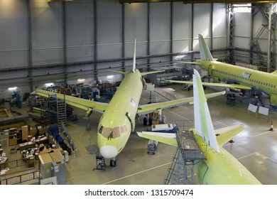 Komsomolsk-On-Amur / Russia - 08.16.2013. Assembly production of the Sukhoi Civil Aircraft. Final Assembly Line of aircraft Sukhoi Superjet 100.