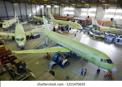 Komsomolsk-On-Amur / Russia - 08.16.2013. Final Assembly Shop of the Sukhoi Civil Aircraft.