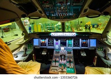 "KOMSOMOLSK-ON-AMUR, RUSSIA — 1 March 2019, SСАC, Sukhoi Civil Aircraft Company, workshop where the fuselage of the regional jet ""Superjet 100"" is assembled. cockpit inside"