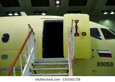 KOMSOMOLSK-ON-AMUR, RUSSIA — 1 march 2019, SСАC, Sukhoi Civil Aircraft Company, workshop where the fuselage of the Superjet 100 is assembled. front door liner, gangway